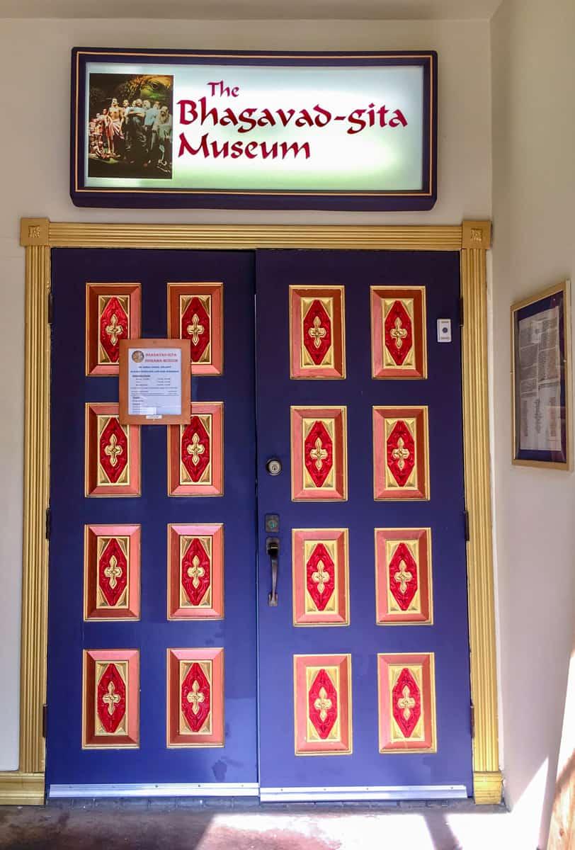 The exterior of the Bhagavad-gita Museum Los Angeles